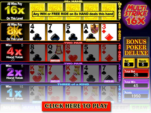 Click to Play Multi-Strike Poker Ultra Deluxe